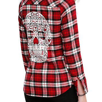 Red Plaid Sugar Skull Girls Woven Top
