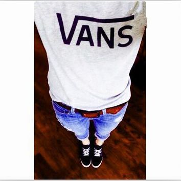 VansFashion short sleeve leisure T-shirt top Black white-1