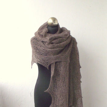 Brown hand knitted alpaca lace stole , knitted lace shawl SUMMER SALE 15% OFF