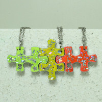 Friendship puzzle pendants set of 3 linking necklaces Bright colors Green yellow orange