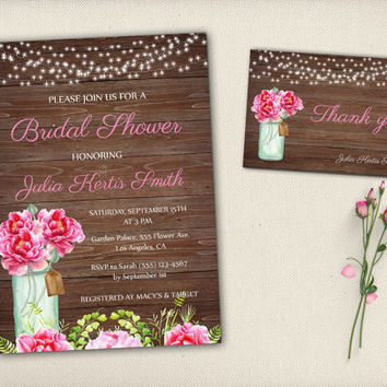 Mason Jar Digital Bridal Shower Invitation Boho Rustic Dark Wood Pink Floral Glass Jar Bridal Invite Bohemian Shower Peonies Flowers - BS011