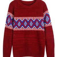 Burgundy Geometric Pattern Knitted Sweater