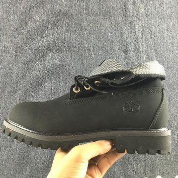 Timberland Rhubarb Boots Lapel Black For Women Men Shoes Waterproof Martin Boots