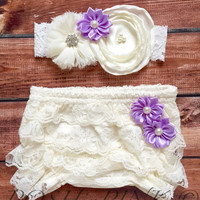 Baby diaper cover headband, lace shabby bloomer set, cream, diaper ruffle cover, newborn, girls white, purple, lilac, light purple, dark