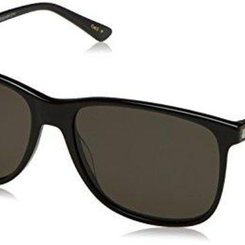 Gucci Men's GG0017S GG/0017/S 001 Black/Silver Polarized Fashion Sunglasses 57mm