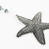 Starfish Sea Star Pendant with Sparkly Blue Glass Beads Necklace