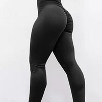 Black Draped Elastic Waist Push Up Legging