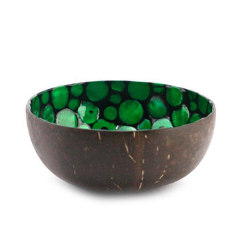 lacquer coconut shell bowl with mother of pearl inlaid