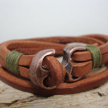 FREE SHIPPIIG, Men bracelet, men's bracelet, men's leather bracelet. Men brown leather bracelet. Multiple skins and anchor