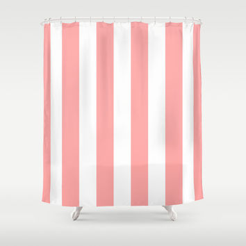 Coral Pink Stripe Vertical Shower Curtain by Beautiful Homes