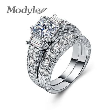 Modyle New Brand Womens Jewelry Vintage Ring Wedding Engagement Women Rings Bijoux Ring Set