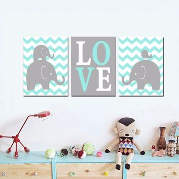 Boy ELEPHANT Nursery Wall Art Artwork Posters and Prints Oil Painting Wall Art Picture Canvas Art Kids Room Decor No Frame