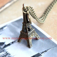 antiqued  brass Eiffel Tower Necklace, vintage style
