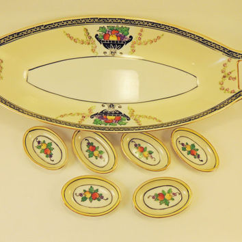 Noritake Vintage Porcelain Art Deco Celery Dish with 6 Salts