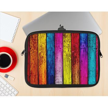 The Neon Wood Color-Planks Ink-Fuzed NeoPrene MacBook Laptop Sleeve