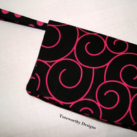 Hot Pink and Black Swirl Polka Dots Five Pocket Large Wristlet, Clutch, Travel Wristlet, Fun on the Go Purse, Unique Gift