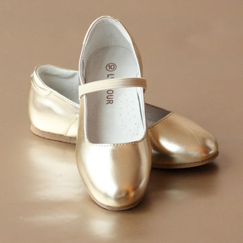 L'Amour Girls Classic Leather Ballet Flat