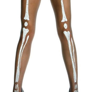 Black Sheer Skeleton Gothic Tights