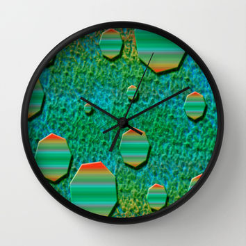 Celestial Octagon Orbs of Planet Uranus Wall Clock by Distortion Art