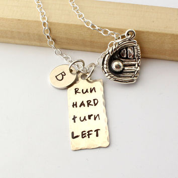 Baseball Necklace Personalized with Initial or Number - Sterling Silver Team Sports Jewelry - Run Hard Turn Left - Softball Necklace