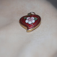 Puffy Heart Charm  ~ Blood Red and Cherry Floral Blossom ~ Enamel & Gold Detail ~ Vintage 1970's
