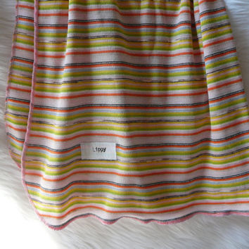 Baby Blanket. Retro stripes.  Soft Stretchy Knit Material. -READY TO SHIP- Made by lippy brand ---------