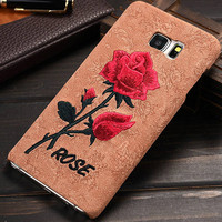 Retro 3D Art Print Embroidered Roses Phone Case For Samsung Galaxy Note 5 N920K Brandnew Hard Protective Cover Woman Embroidery