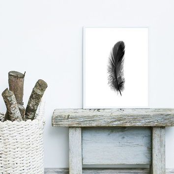 Minimalist print,feather print,black white wall art,wall art printable,wall decor print,minimalist wall art,printable art, black white print
