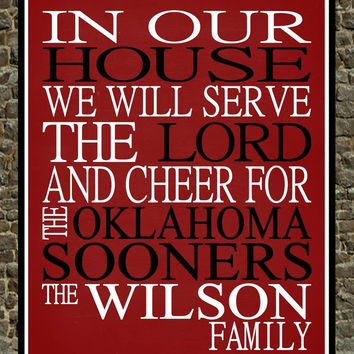 Customized Name Oklahoma Sooners NCAA personalized family print poster Christian gift sports wall art - multiple sizes