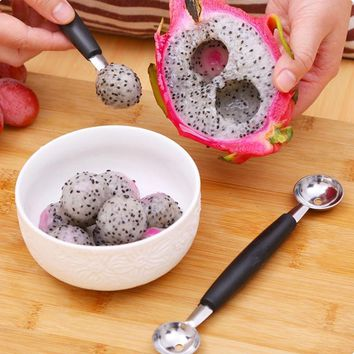1 Pc Stainless Steel Double-end Melon scoops & ballers Pitaya watermelon Baller Scoop Spoon Kitchen Fruit Tools Supplies