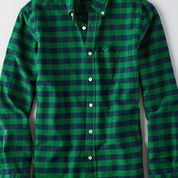 AEO Men's Oxford Plaid Button Down Shirt (Green)