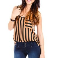TCEC Striped Hi Low Tank in Green and Orange:Amazon:Clothing
