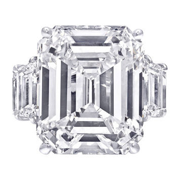 Magnificent 16.59 carat J color Emerald Cut Diamond Engagement Ring