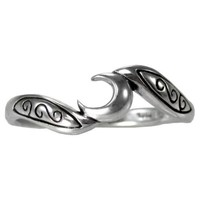 Sterling Silver Crescent Moon Wiccan Goddess Ring (sz 4-15)