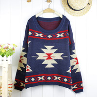 blue sweater with Geometric Abstract print