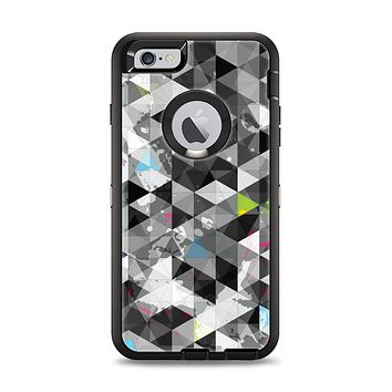 The Modern Black & White Abstract Tiled Design with Blue Accents Apple iPhone 6 Plus Otterbox Defender Case Skin Set