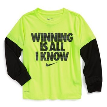 Toddler Boy's Nike 'Winning Is All I Know' Dri-FIT Layer Look T-Shirt,