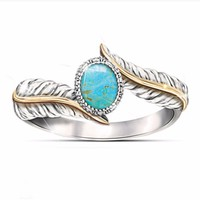 Sterling Silver Turquoise Feather Ring