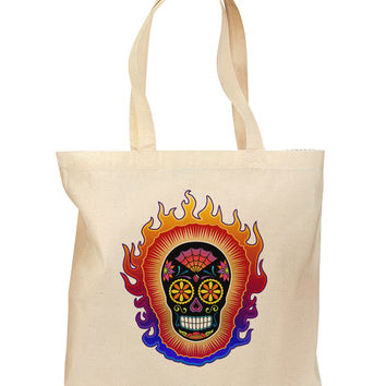 Sacred Calavera Day of the Dead Sugar Skull Grocery Tote Bag
