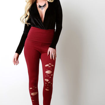 Jersey Razor Cutout High Waist Leggings