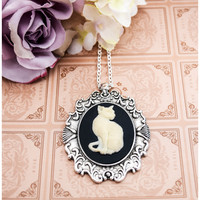 Cat Cameo Necklace Black Ivory