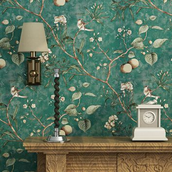 Pastoral 3D Tree Branches Flower Birds Wallpaper for Wall Bedroom Living Room Retro Elegant Home Decor Non-woven Wall Paper Roll