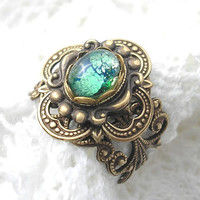 Celtic Rainforest Ring - Emerald Green Glass Opal and Antiqued Brass