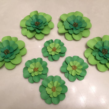 Green Flowers, Package Toppers, Embellishments, Decorations, Cards, Tags, Mixed Media, Gift Wrap, Wrapping Paper Embellishments, St. Patrick