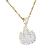 Iced Out 14k Gold Finish Fire Emoji Pendant
