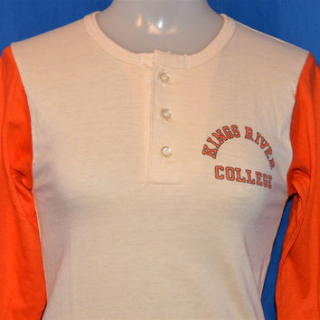 70s Kings River College Blue Bar Champion Two-Tone Henley t-shirt Youth Medium 10-12