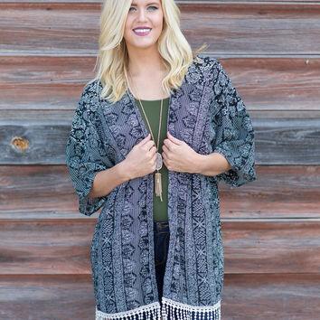 Leap of Faith Tribal-Print Kimono