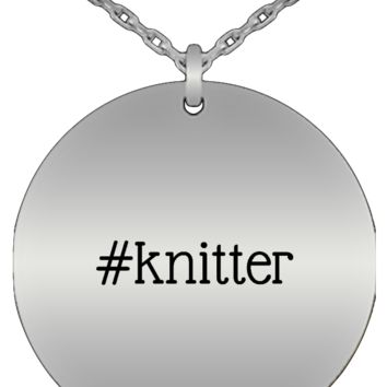 Hashtag Knitter Stainless Steel Round Pendant