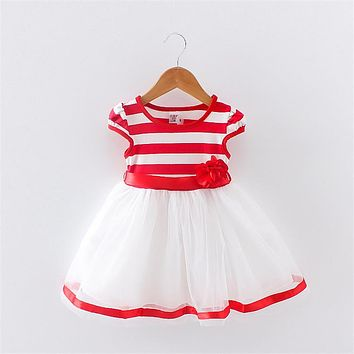 BibiCola 2017 Baby girl fashion summer dress kids summer dresses girls brand dress princess baby striped dress