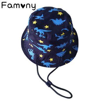 Dinosaur Star Printed Sun Cap Cotton Bucket Dotted Line Hat Spring Summer Sunscreen Hats For Baby Beach Travel Accessories